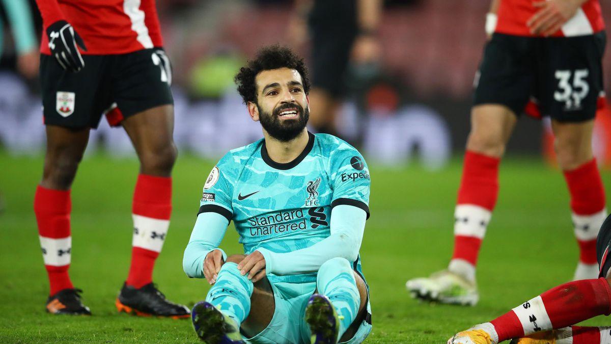 Mo Salah (Liverpool) au sol face à Southampton
