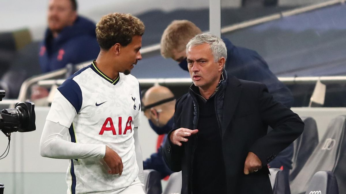Dele Alli of Tottenham Hotspur with Jose Mourinho head coach of Tottenham Hotspur