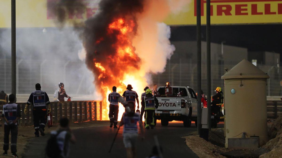 A fire is pictured following the crash of Romain Grosjean
