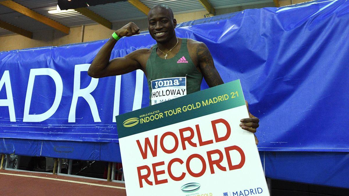 Грант Холлоуэй, мировой рекорд в беге на 60 метров с барьерами
