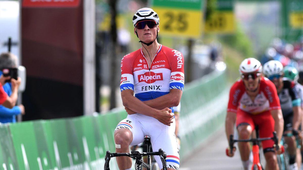 Mathieu van der Poel (Alpecin-Fenix) à l'arrivée de la 3e étape du Tour de Suisse le 8 juin