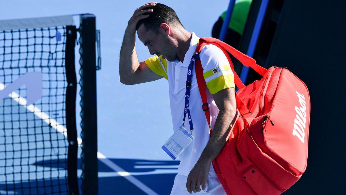 Roberto Bautista Agut après sa défaite au 1er tour de l'Open d'Australie 2021