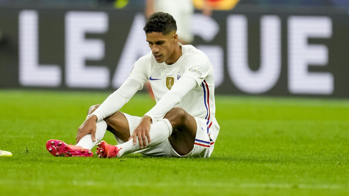 aphael Varane of France on the ground during the UEFA Nations League Final match between the Spain and France at San Siro Stadium on October 10, 2021 in Milan, Italy.