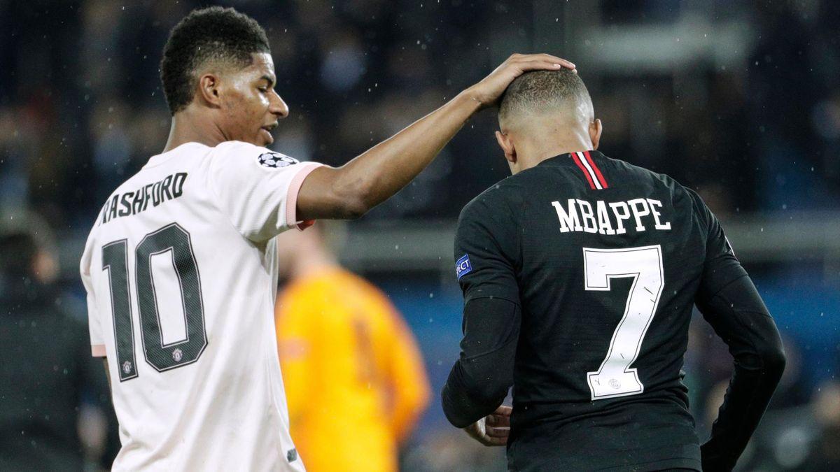 Marcus Rashford et Kylian Mbappé lors du match opposant le Paris Saint-Germain à Manchester United, le 6 mars 2019, en huitièmes de finale retour de Ligue des champions