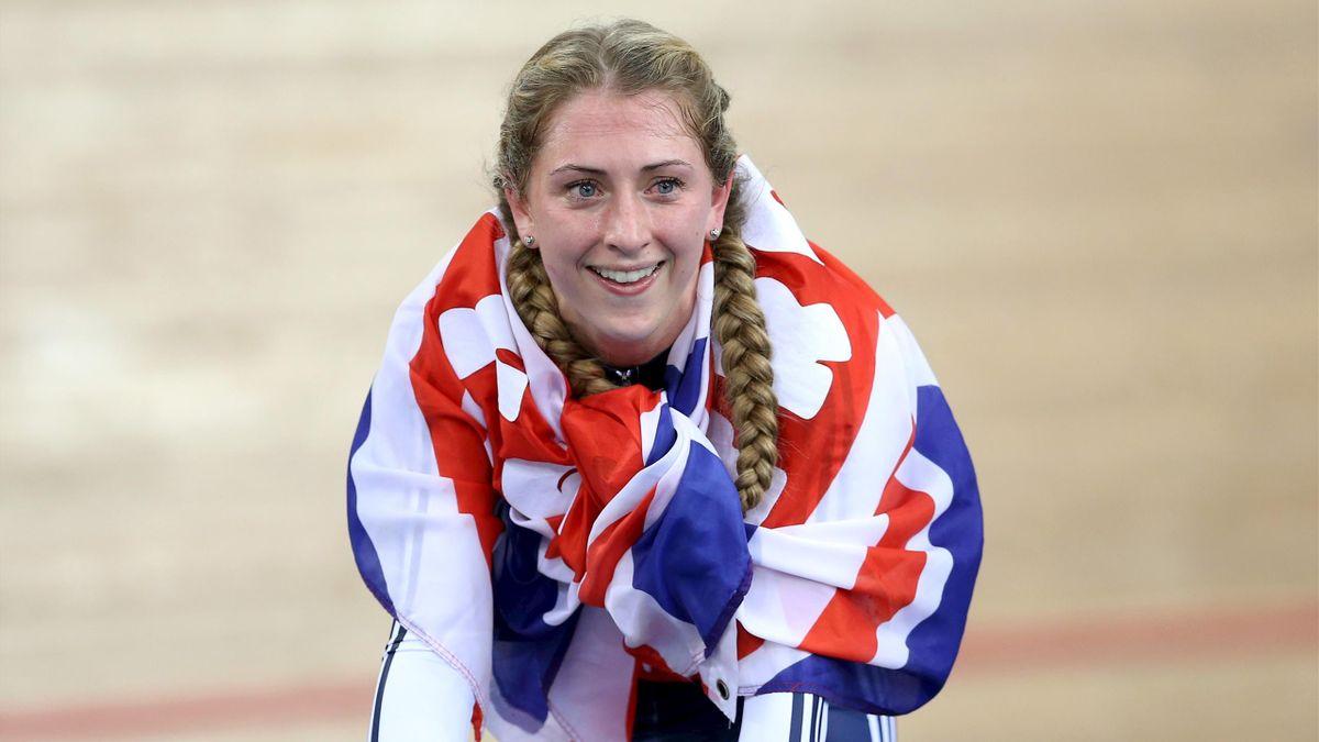 Laura Trott of Britain celebrates winning the women's omnium
