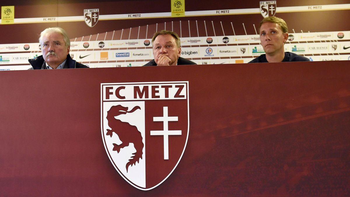 Frederic Hantz avec le président du FC Metz Bernard Serin et Arnaud Cormier - 2017