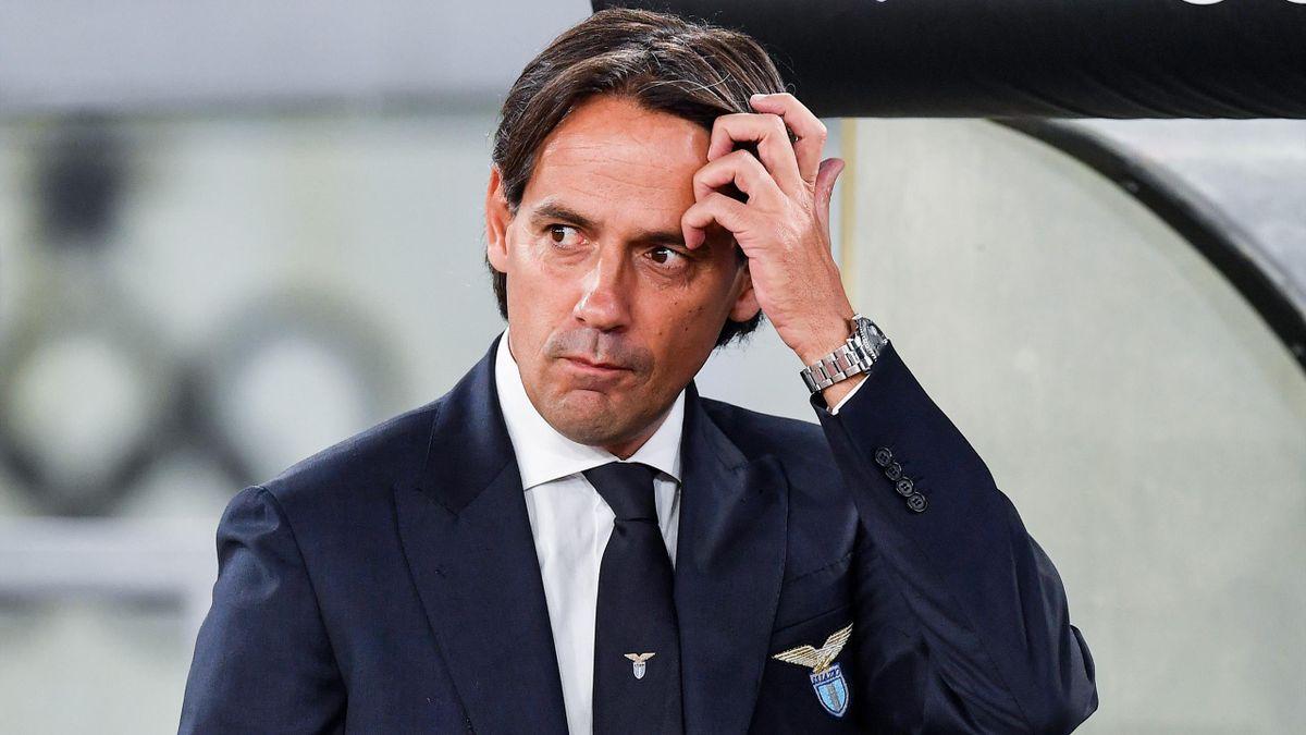 Simone Inzaghi in Lazio-Rennes - Europa League 2019-2020