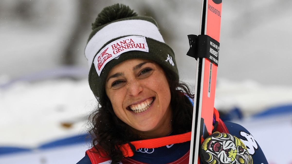 Federica Brignone celebrates after winning the Super G event of the Women's Alpine Skiing World Cup at the Rosa Khutor ski resort outside Sochi on February 2, 2020