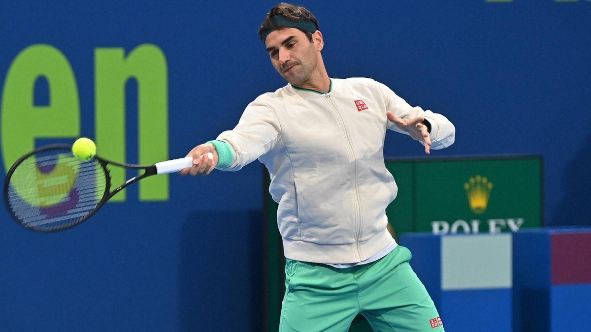 Roger Federer in Doha 2021