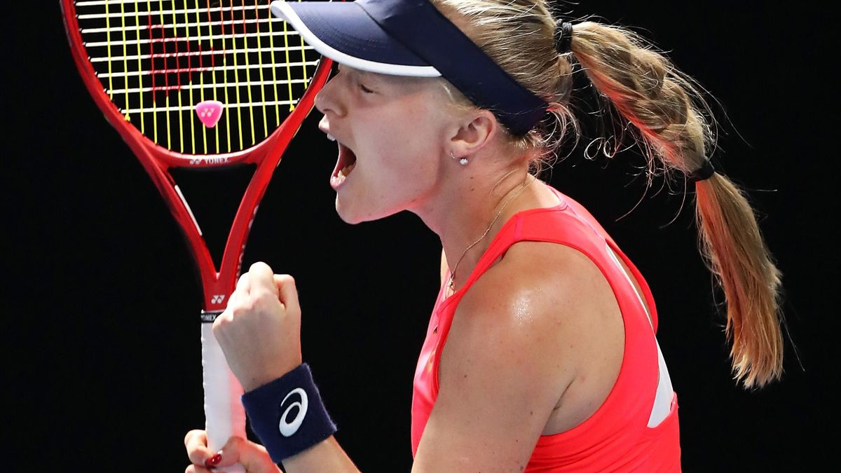 Harriet Dart of Great Britain celebrates winning match point during her Women's Singles first round match against Misaki Doi of Japanon day two of the 2020 Australian Open at Melbourne Park on January 21, 2020