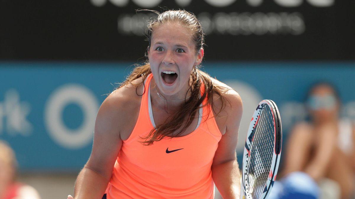 Daria Kasatkina of Russia celebrates her win over Angelique Kerber of Germany.