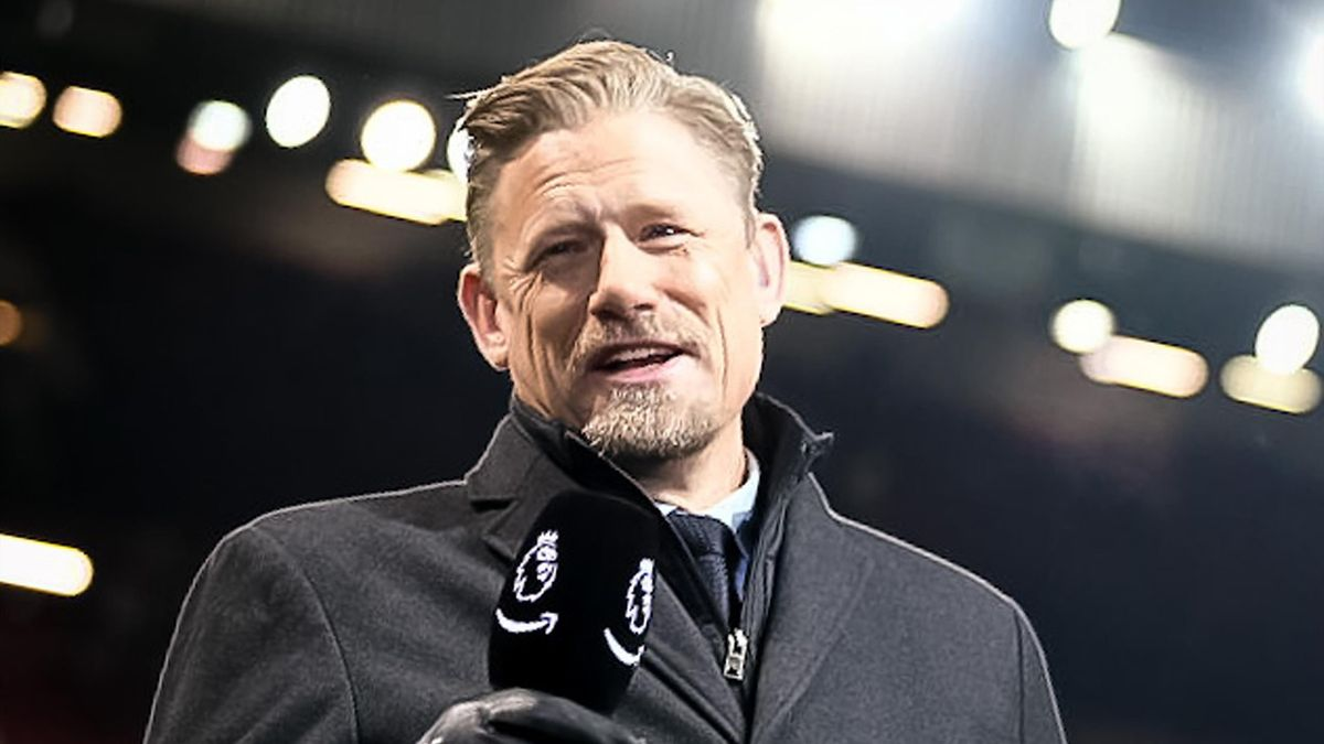 Peter Schmeichel broadcasts ahead of the Premier League match between Manchester United and Newcastle United