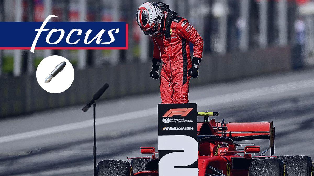 Charles Leclerc esulta dopo il secondo posto, Getty Images