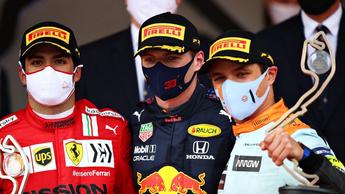Max Verstappen posa insieme a Carlos Sainz e Lando Norris, GP Monaco 2021, F1, Getty Images