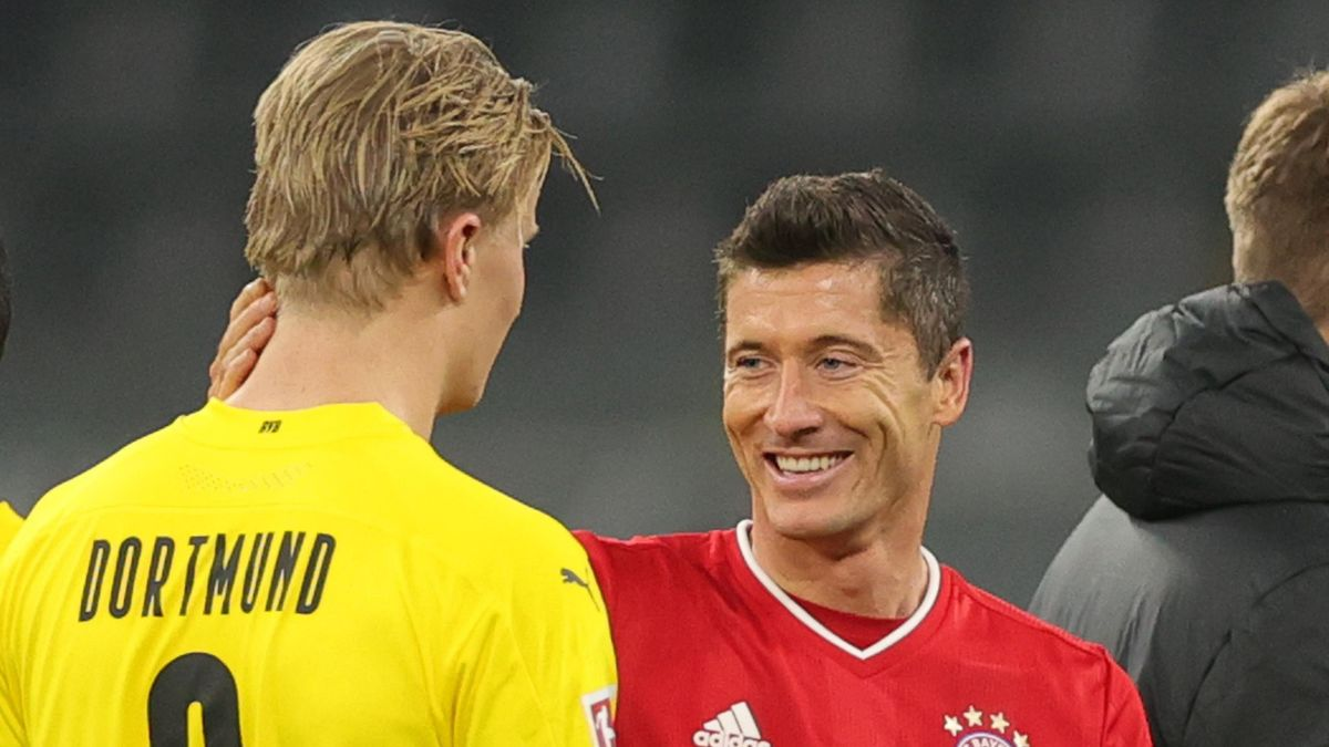 Erling Haaland (links; Borussia Dortmund) und Robert Lewandowski (FC Bayern)
