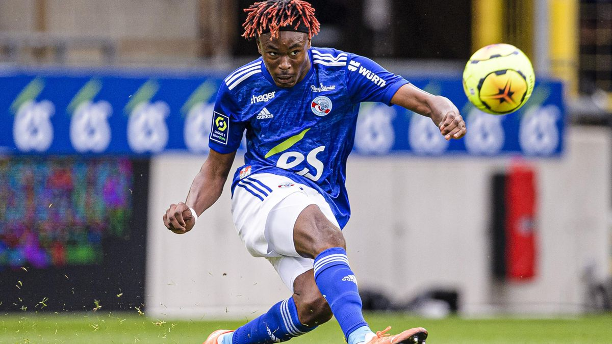 Mohamed Simakan, le défenseur central de Strasbourg.