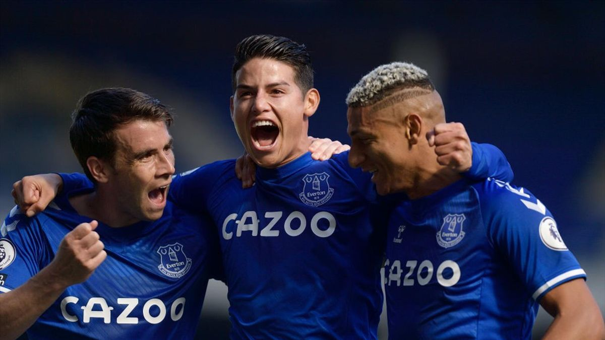 James Rodriguez (C) celebrates his goal with Seamus Coleman (L) and Richarlison during the during the Premier League match between Everton and West Bromwich Albion at Goodison Park on September 18 2020 in Liverpool, England.