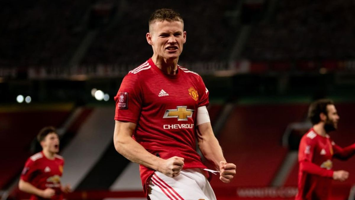 Scott McTominay of Manchester United celebrates scoring a goal to make the score 1-0 during the FA Cup Third Round match between Manchester United and Watford at Old Trafford on January 9, 2021