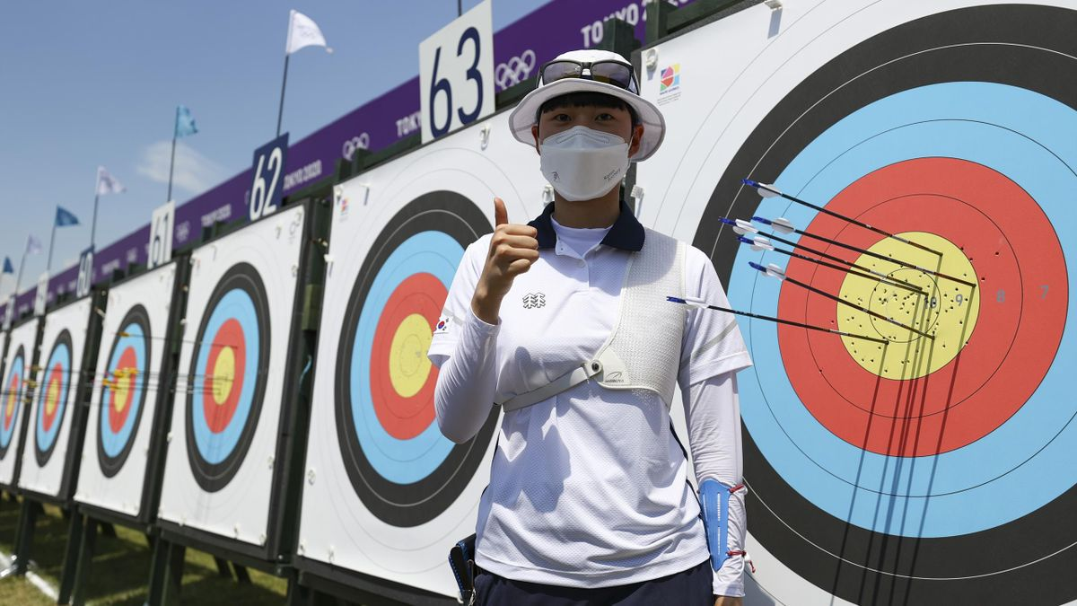 TOKYO, JAPAN - JULY 23: San An of Team South Korea poses for a photo after setting a new Olympic record in the Women's Individual Ranking Round during the Tokyo 2020 Olympic Games at Yumenoshima Park Archery Field on July 23, 2021 in Tokyo, Japan. (Photo