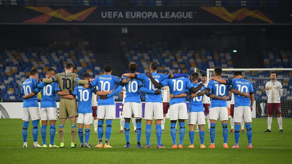 Napoli players all wore the same Maradona shirts before their Europa League game on Thursday