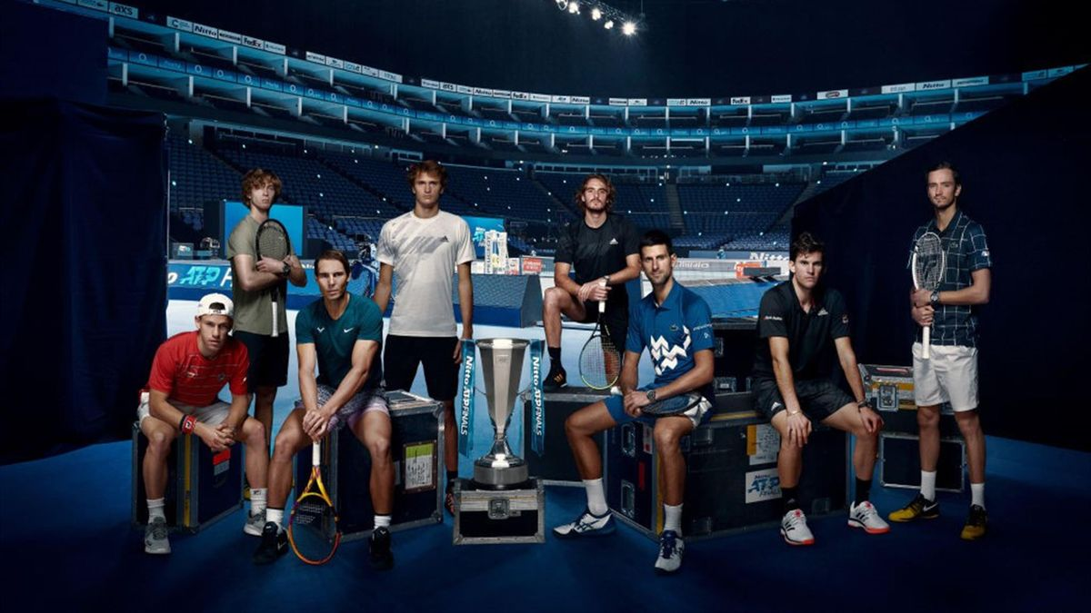 Diego Schwartzman of Argentina, Andrey Rublev of Russia, Rafael Nadal of Spain, Alexander Zverev of Germany, Stefanos Tsitsipas of Greece, Novak Djokovic of Serbia, Dominic Thiem of Austria and Daniil Medvedev of Russia pose for a photo at The O2 Arena du