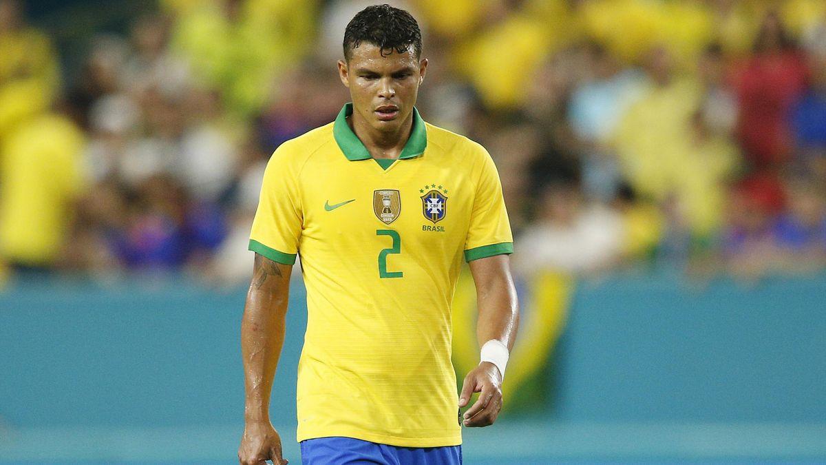Thiago Silva sous le maillot du Brésil en septembre 2019