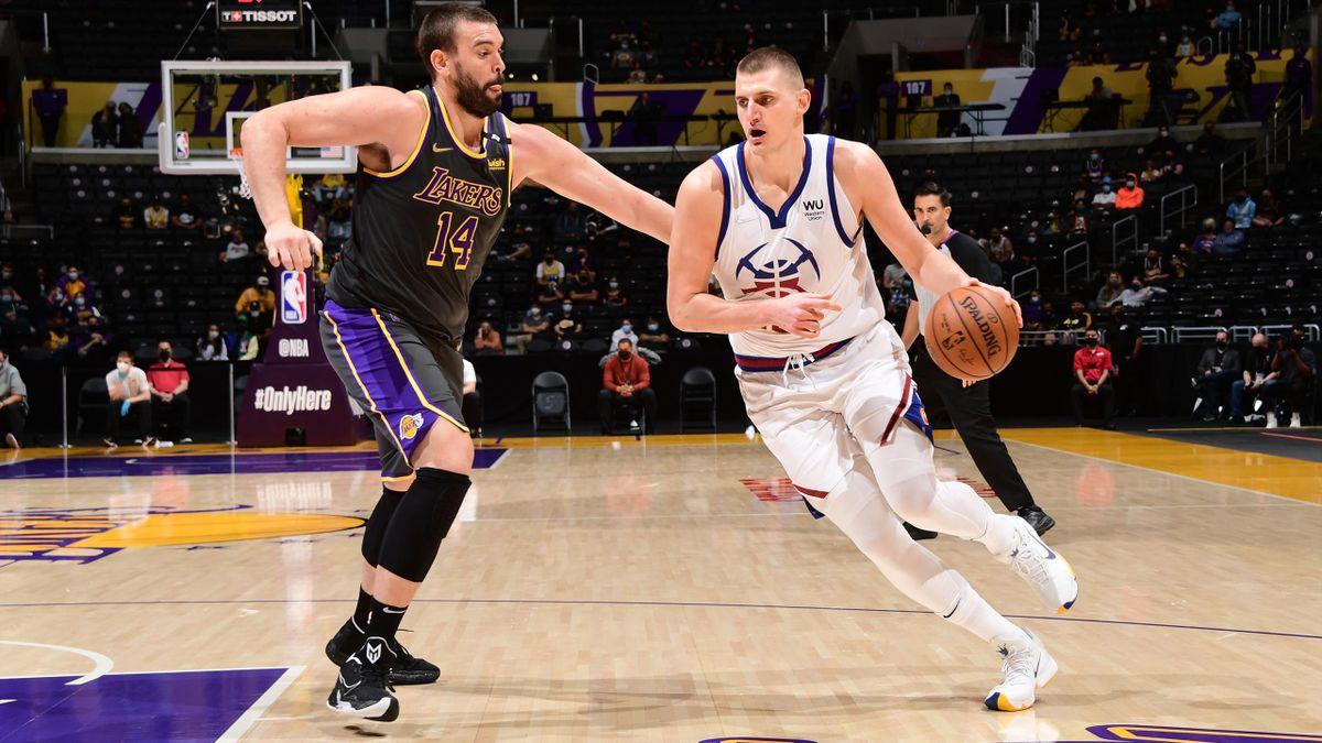 Marc Gasol (Los Ángeles Lakers) y Nikola Jokic (Denver Nuggets) - NBA 2020/21