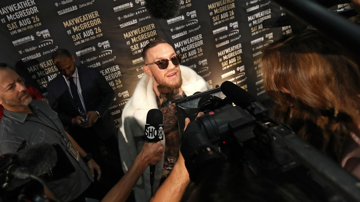 Conor McGregor speaks to media during the Floyd Mayweather Jr. v Conor McGregor World Press Tour event at Barclays Center on July 13, 2017 in the Brooklyn borough of New York City.