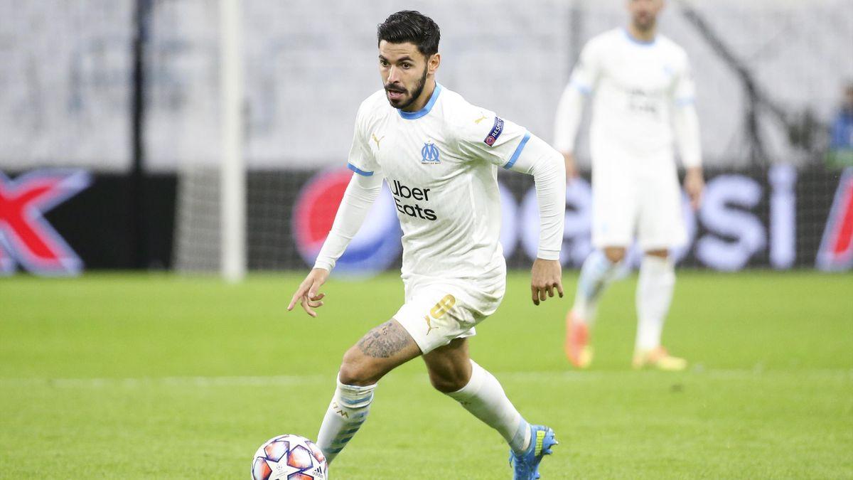 Morgan Sanson lors d'un match opposant Marseille à Porto, le 25 novembre 2020, en Ligue des champions