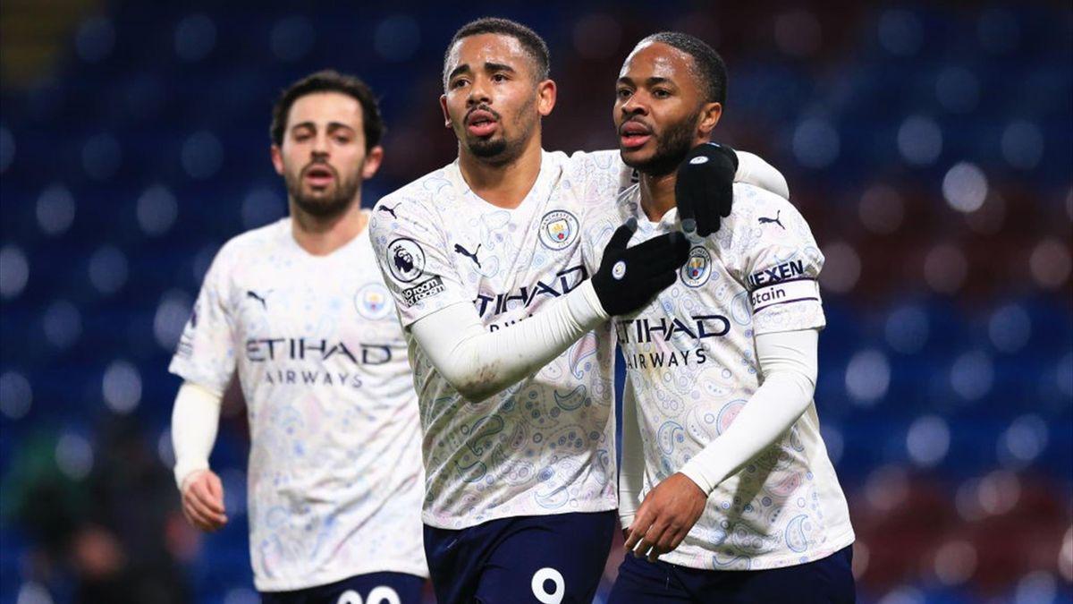 Bernardo Silva, Gabriel Jesus e Raheem Sterling - Burnley-Manchester City Premier League 2020-21