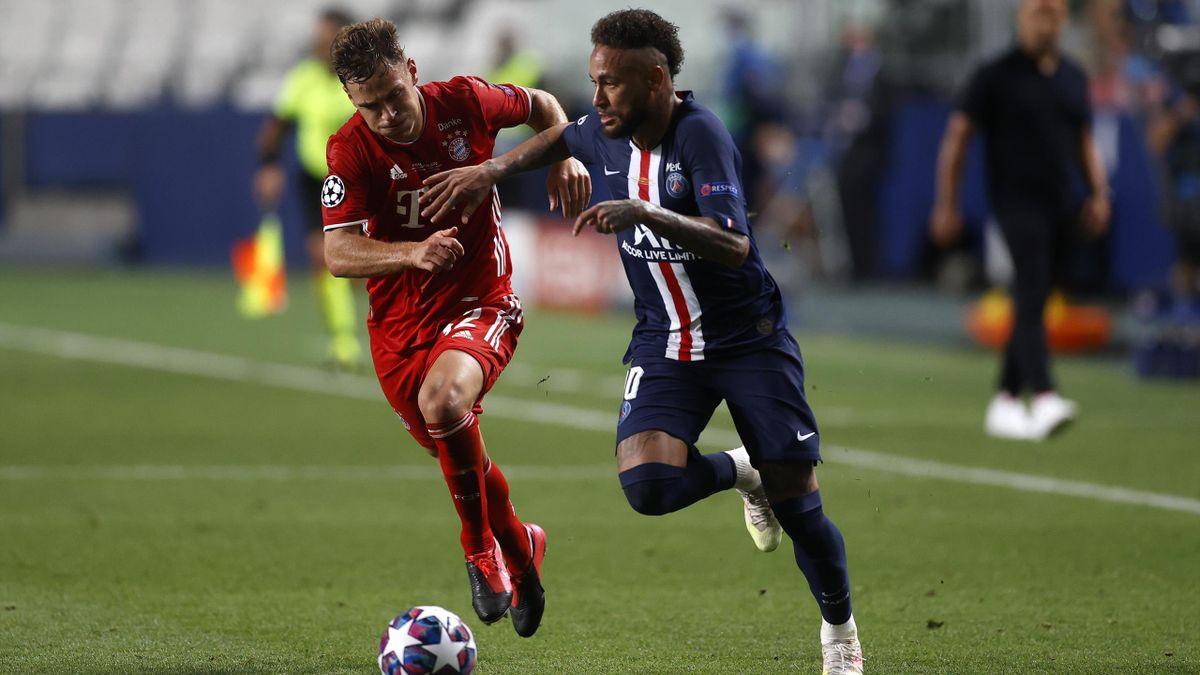 Joshua Kimmich (l.) im Duell mit PSG-Star Neymar (r.) im Champions-League-Finale 2020