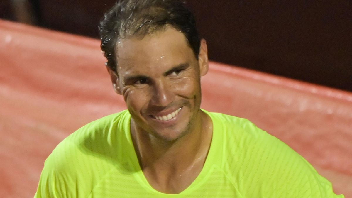 Spain's Rafael Nadal reacts after defeating Spain's Pablo Carreno Busta on day three of the Men's Italian Open at Foro Italico