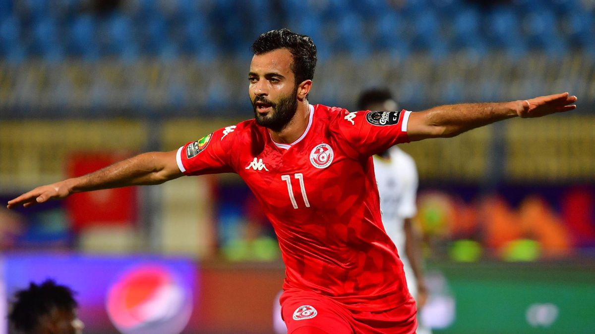 Tunisia's forward Taha Yassine Khenissi celebrates his goal during the 2019 Africa Cup of Nations (CAN) Round of 16 football match between Ghana and Tunisia