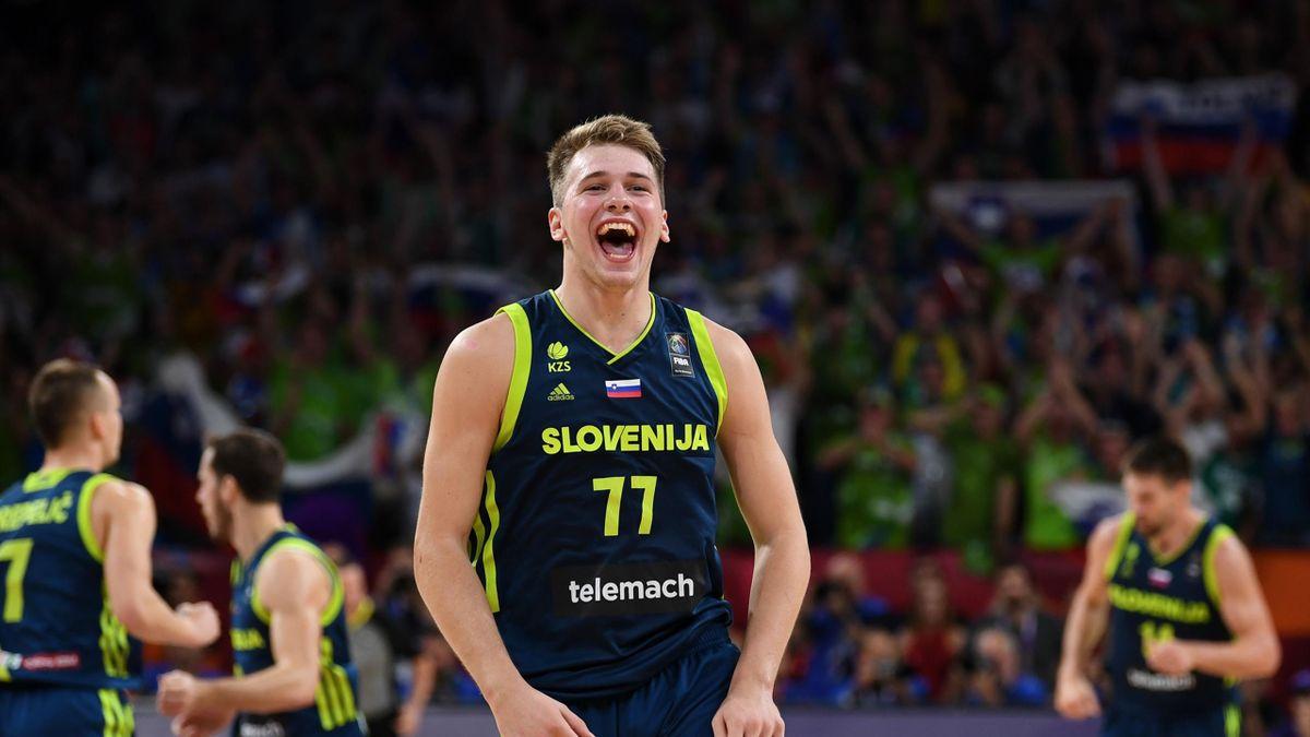 Slovenia's Luka Doncic celebrates