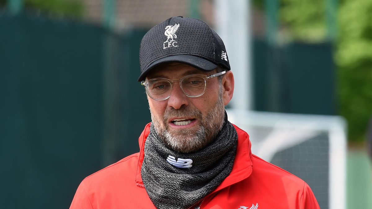 Jurgen Klopp manager of Liverpool during a training session at Melwood Training Ground on May 10, 2019 in Liverpool, England.