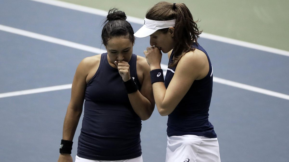 Johanna Konta (R) and Heather Watson of Great Britain play in their doubles match against Miyu Kato and Makoto Ninomiya of Japan during day two of the Fed Cup World Group II Play-Off.