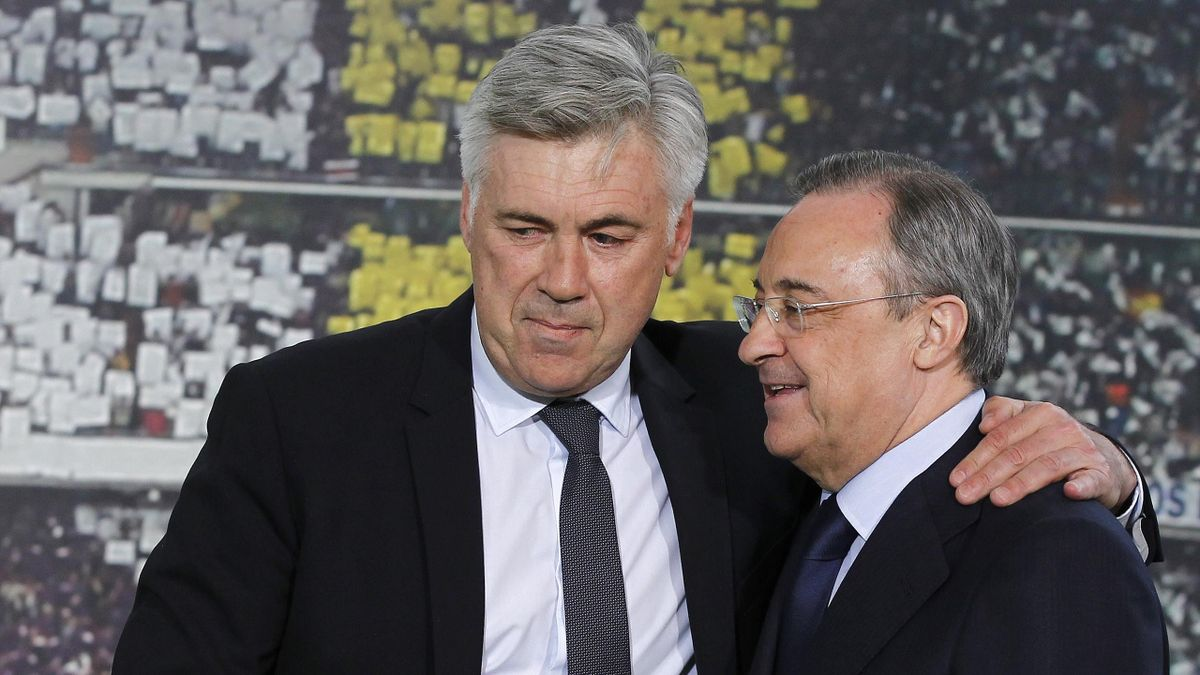 Carlo Ancelotti insieme a Florentino Perez, Real Madrid, Getty Images