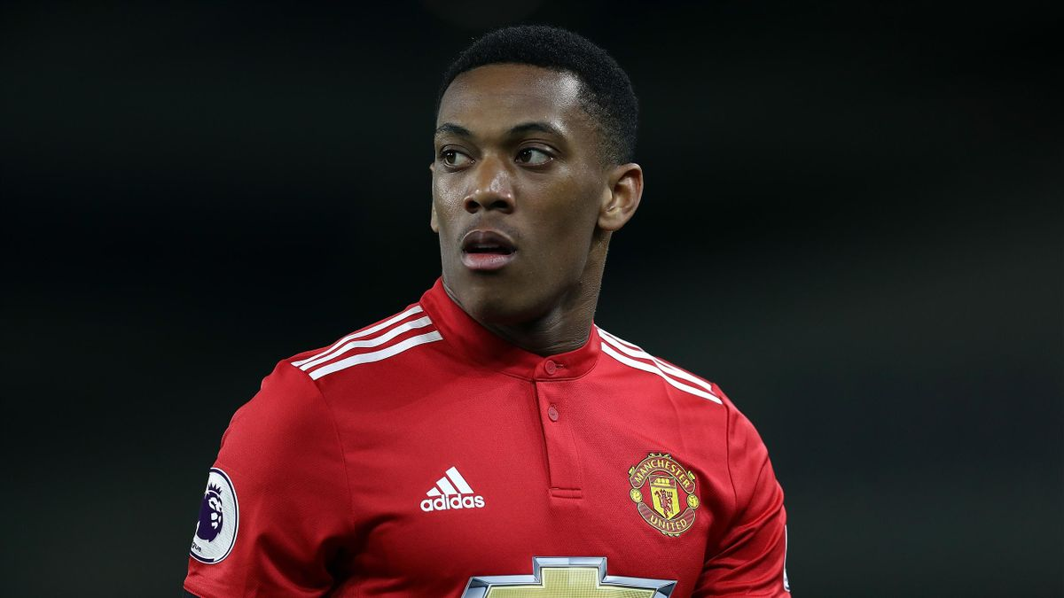Anthony Martial of Manchester United in action during the Premier League match between Brighton and Hove Albion and Manchester United at Amex Stadium on May 4, 2018 in Brighton, England.