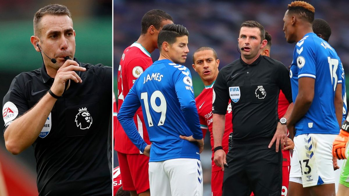David Coote (L) was Saturday's VAR, while on the right Liverpool and Everton players surround referee Michael Oliver