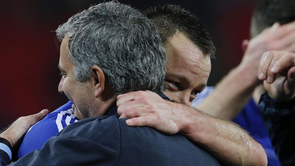 John Terry and Jose Mourinho embrace at Wembley.