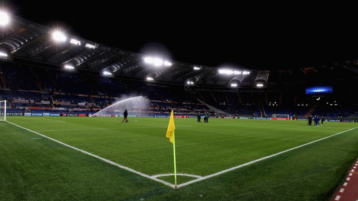 A general view of the Stadio Olimpico before the UEFA Champions League group C match between AS Roma and Chelsea FC at Stadio Olimpico on October 31, 2017 in Rome, Italy