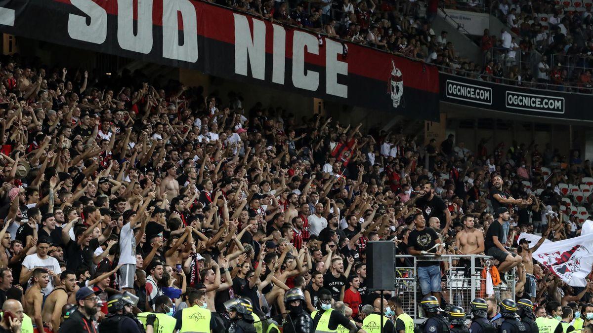 Les supporters de l'OGCN lors de Nice - Marseille, le 22 août 2021