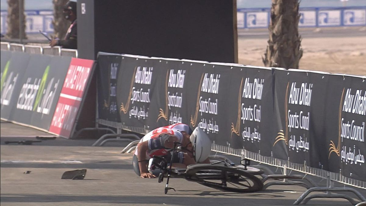'What happened there?' - Tiberi skids across finish on his back after freak crash