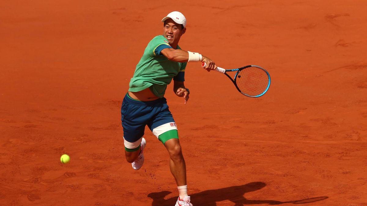 Kei Nishikori lors de son match face à Karen Khachanov au 2e tour