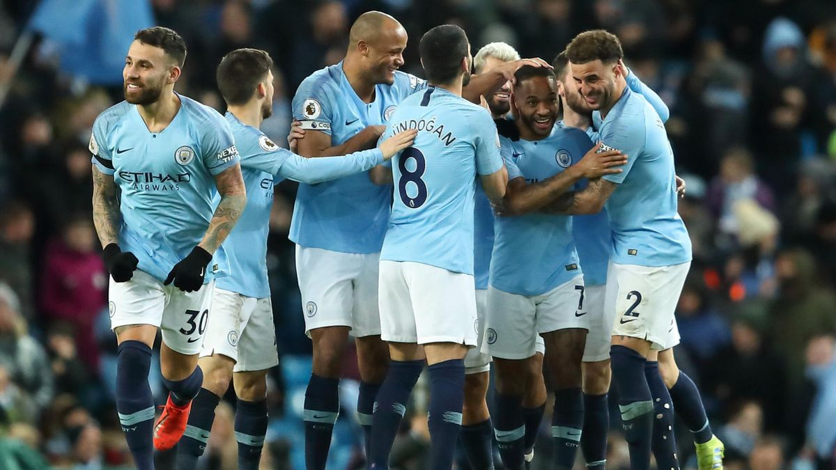 Raheem Sterling of Manchester City celebrates after scoring a goal to make it 1-0 during the Premier League match between Manchester City and Watford FC at Etihad Stadium on March 9, 2019 in Manchester, United Kingdom