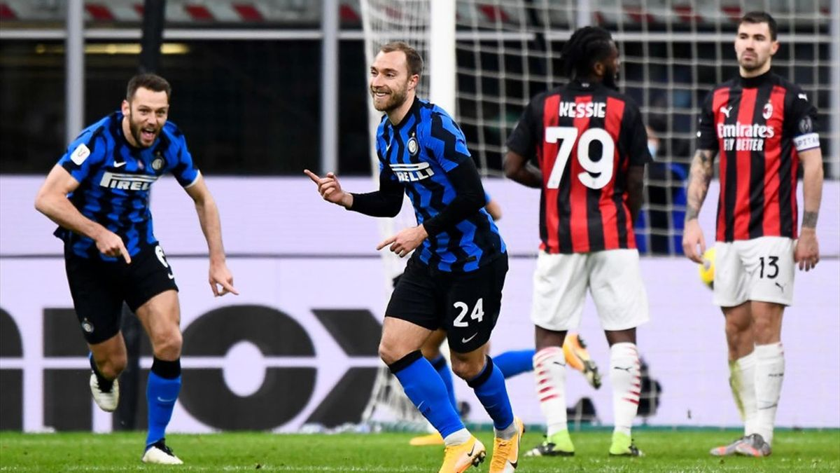 Christian Eriksen esulta - Inter-Milan Coppa Italia 2020-21