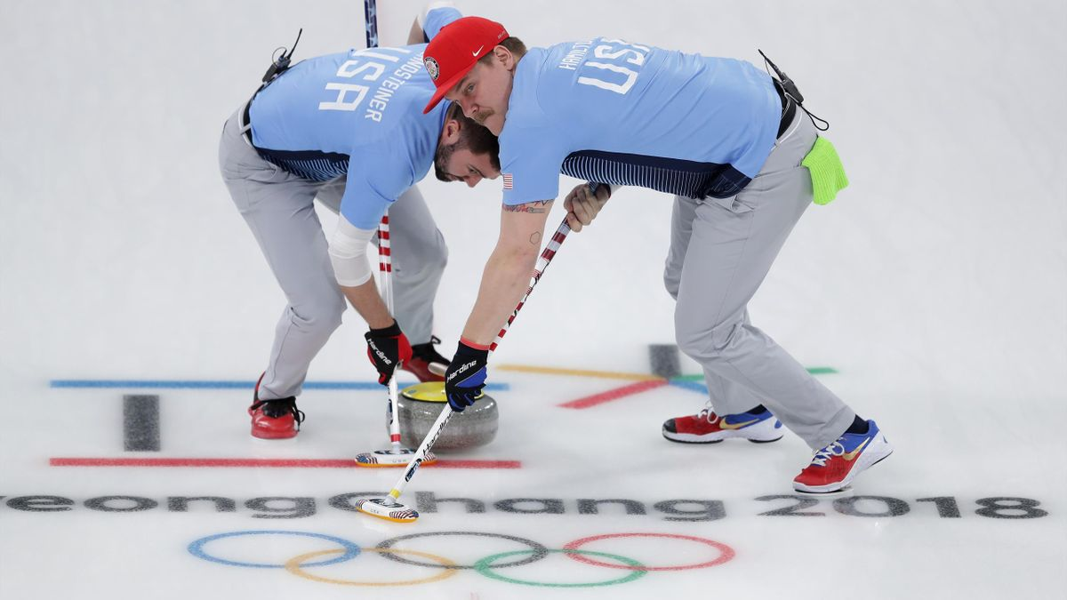 John Landsteiner (L) and Matt Hamilton of the USA in action during the Great Britain v USA Men's Curling round robin matches on day 12 of the Pyeongchang 2018 Winter Olympics at Gangneung Curling Centre on February 21, 2018 in Gangneung, South Korea.