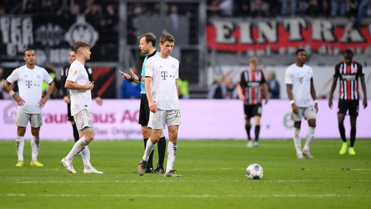 Thomas Muller reacts after Frankfurt's first goal during the Bundesliga match between Eintracht Frankfurt and FC Bayern Muenchen at Commerzbank-Arena on November 02, 2019 in Frankfurt am Main, Germany.