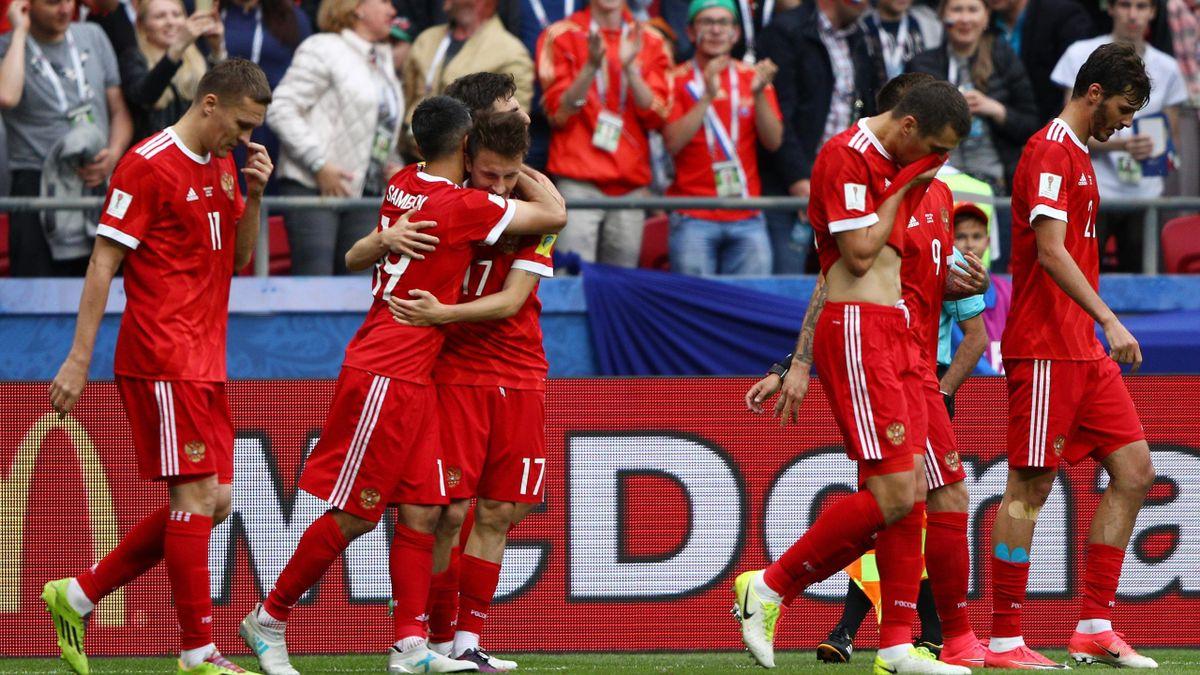 Alexander Samedov of Russia celebrates scoring his sides first goal