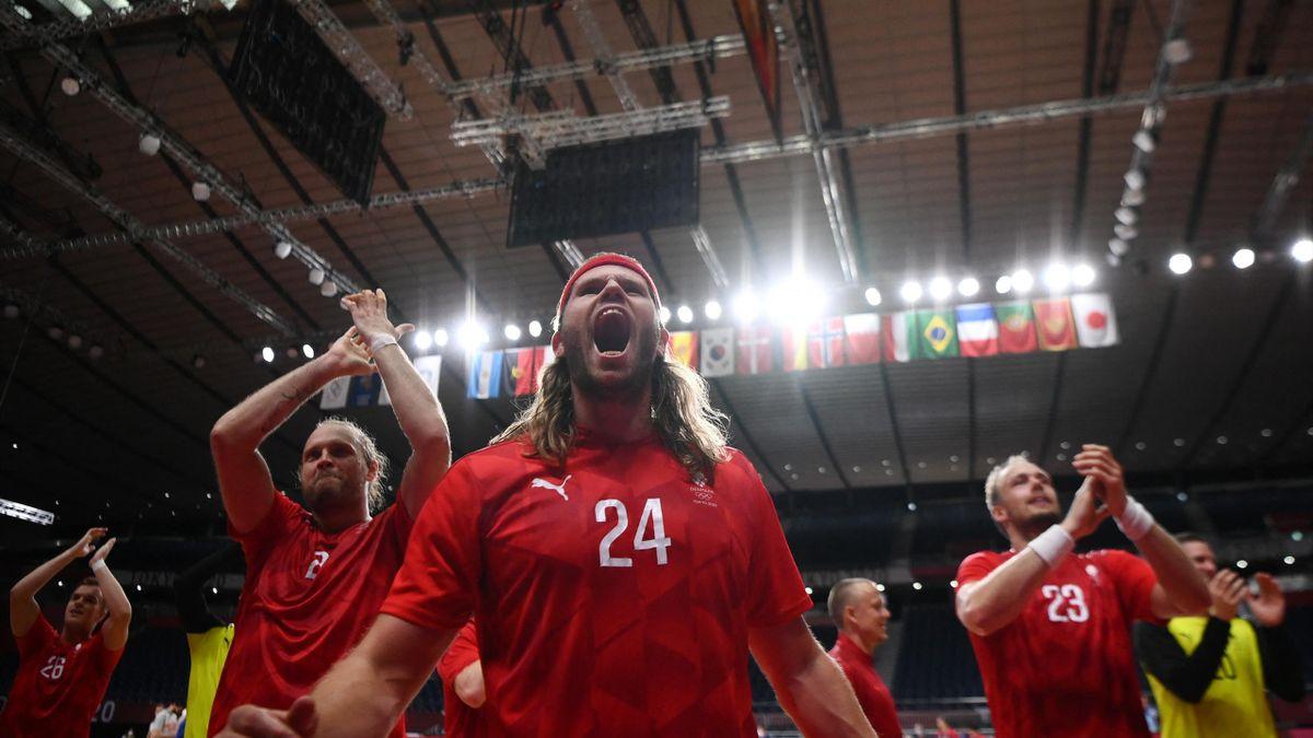 Mikkel Hansen ünnepli a spanyolok feletti elödöntős győzelmet a tokiiói olimpián